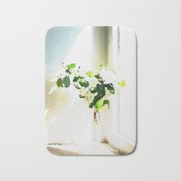 Vase of Flowers with shadows watercolor Bath Mat