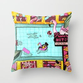 Flamingo motel Throw Pillow