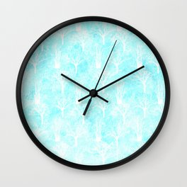 White winter forest- With snow covered trees- pattern on teal Wall Clock