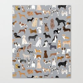 Mixed Dog lots of dogs dog lovers rescue dog art print pattern grey poodle shepherd akita corgi Canvas Print