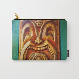 Crazy, fun, fierce, Hawaiian retro wood carving tiki face close-up photo Carry-All Pouch