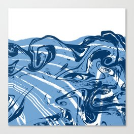 marble suminigashi spilled ink watercolor painting navy painterly abstract art Canvas Print