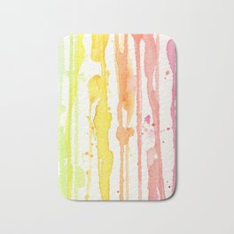 Rainbow Watercolor Texture Pattern Abstract Bath Mat