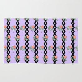 Stem Rose Watercolor Pattern Lavender Rug