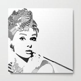 Audrey Hepburn - black and white Metal Print