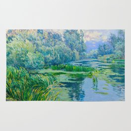 Václav Radimský (1867-1946) At The Confluence Colorful Bright Impressionist Oil Landscape Painting Rug