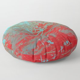 texture - aqua and red paint Floor Pillow