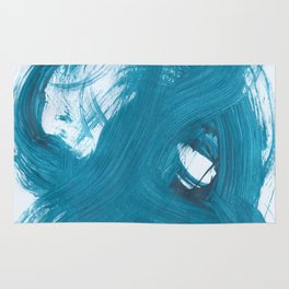 Fuzzy, Abstract, Blue Duck Rug