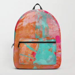 Paint Splatter Turquoise Orange And Pink Backpack