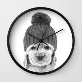 Black and White Cocker Spaniel Wall Clock