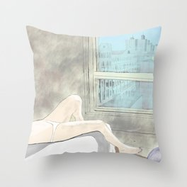 Woman at a New York Evening Siesta Throw Pillow