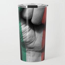 Italian Flag on a Raised Clenched Fist Travel Mug