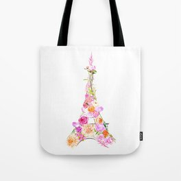 Floral Eiffel Tower Tote Bag