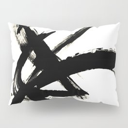 Brushstroke 3 - a simple black and white ink design Pillow Sham