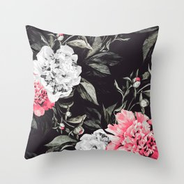 Floral pink - black & white dark Throw Pillow