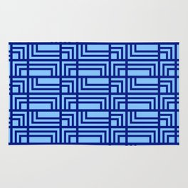 Blue Ocean Pattern   Sea   Geometric   Greece Inspired   Square Shapes   Art Deco   For Him Rug