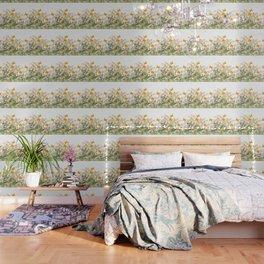 WHITE ART GARDEN ART OF YELLOW BUTTERFLIES Wallpaper