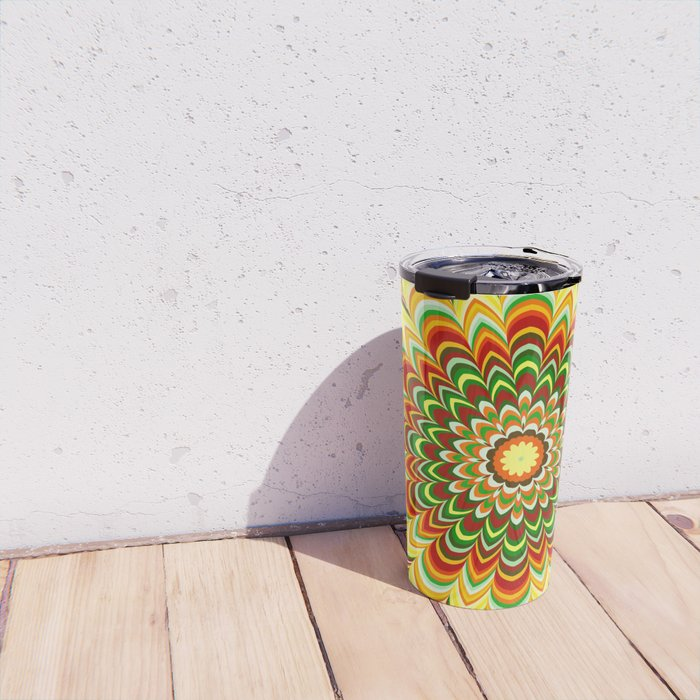 Colorful flower striped mandala Travel Mug