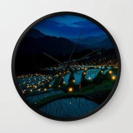Evening Rice Fields Wall Clock