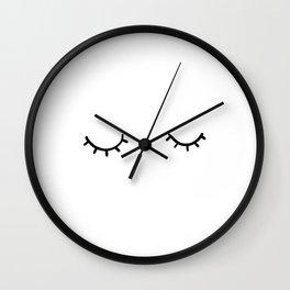 Closed eyes, just eyelashes Wall Clock