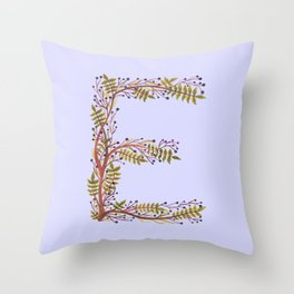 Leafy Letter E Throw Pillow