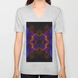 Abstract and symmetrical texture in the form of colorful smoke clouds. Unisex V-Neck