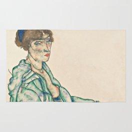 "Egon Schiele ""Sitting Semi-Nude with Blue Hairband"" Rug"