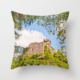 Castle ruin Hohenbourg Throw Pillow