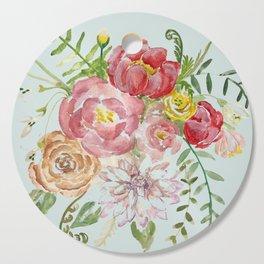 Bouquet of Spring Flowers Light Aqua Cutting Board