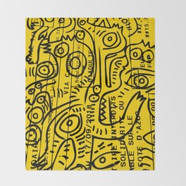 Yellow Street Art Graffiti Train Ticket Throw Blanket