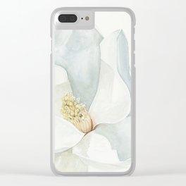 Watercolor Magnolia Blossom Clear iPhone Case