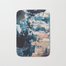 Sweetly: a bohemian, abstract work on paper in blue, pink, white, and gold Bath Mat