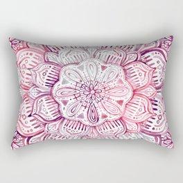 Burgundy Blush Watercolor Mandala Rectangular Pillow
