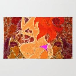 Frau mit roten Haaren und Schmetterling Rug
