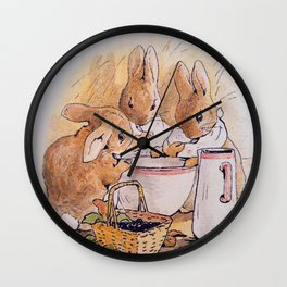 Peter Rabbit with his parents Wall Clock