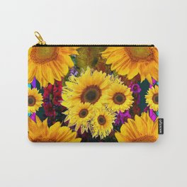 FUCHSIA PURPLE  & YELLOW  SUNFLOWERS ART Carry-All Pouch