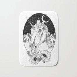 Unicorn skull of night Bath Mat