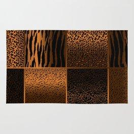 Golden Brown Jungle Animal Patterns Rug