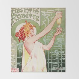 Art Nouveau Absinthe Robette Ad Throw Blanket