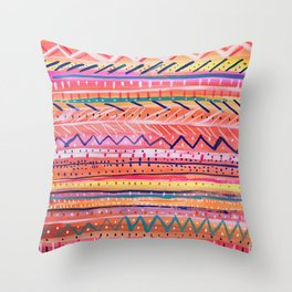 Hand painted Bright Patterned Stripes Throw Pillow