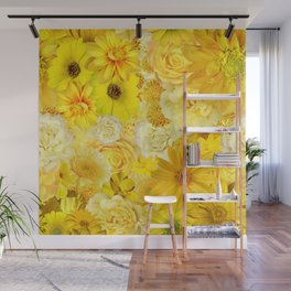 Yellow Rose Bouquet with Gerbera Daisy Flowers Wall Mural