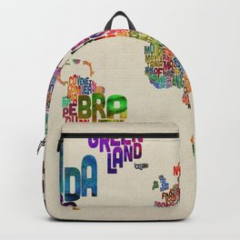 Typography Text Map of the World Backpack