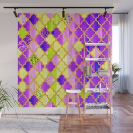 Moroccan Tile Pattern In Purple And Yellow Wall Mural