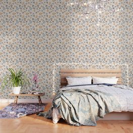 Assorted Leaf Silhouettes Blues Brown Gold Cream Wallpaper