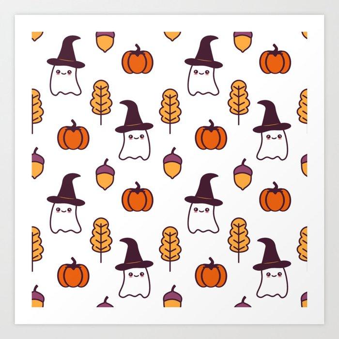 Halloween Pumpkin Cartoon Images.Cute Cartoon Halloween Pattern Background With Ghosts Pumpkins Leaves And Acorns Art Print