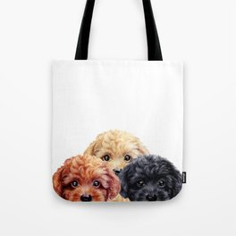 Toy poodle trio, Dog illustration original painting print Tote Bag