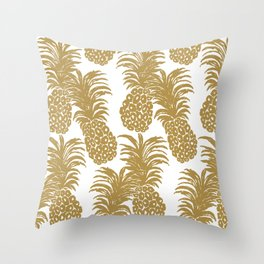 Gold Pineapples Throw Pillow