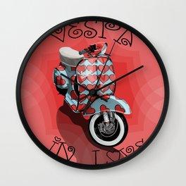 Vespa in Love Wall Clock