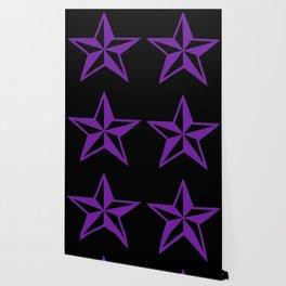 Purple Tattoo Style Star on Black Wallpaper