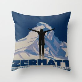Vintage Zermatt Switzerland Travel Throw Pillow